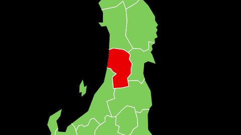 山形県の位置が赤く表示されます。背景はアルファチャンネルです。 CG動画