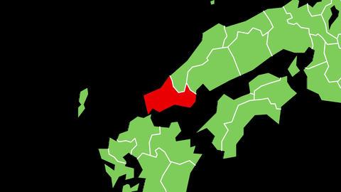 山口県の位置が赤く表示されます。背景はアルファチャンネルです。 CG動画