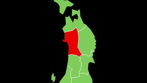 秋田県の位置が赤く表示されます。背景はアルファチャンネルです CG動画