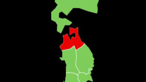 青森県の位置が赤く表示されます。背景はアルファチャンネルです。 CG動画