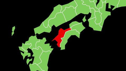 愛媛県の位置が赤く表示されます。背景はアルファチャンネルです。 CG動画
