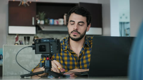 5 Young Man Working From Home Making Business Web Conference Live Action