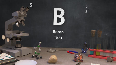 Infographic of 5 Element B Boron of the Periodic Table Animation