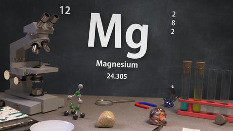 Infographic of 12 Element Mg Magnesium of the Periodic Table Animation