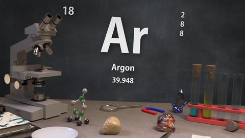 Infographic of 18 Element Ar Argon of the Periodic Table Animation