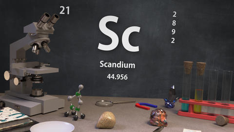 Infographic of 21 Element Sc Scandium of the Periodic Table Animation