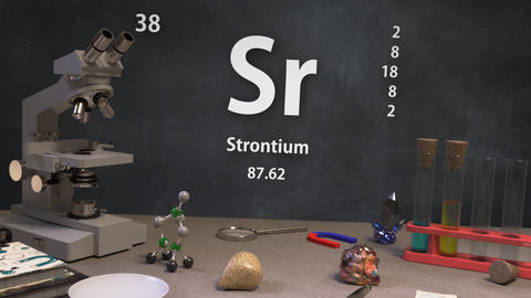 Infographic of 38 Element Sr Strontium of the Periodic Table Animation