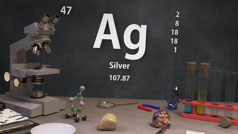 Infographic of 47 Element Ag Silver of the Periodic Table Animation