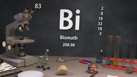 Infographic of 83 Element Bi Bismuth of the Periodic Table Animation