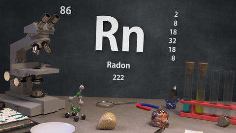 Infographic of 86 Element Rn Radon of the Periodic Table Animation