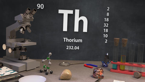 Infographic of 90 Element Th Thorium of the Periodic Table Animation