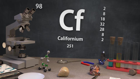 Infographic of 98 Element Cf Californium of the Periodic Table Animation