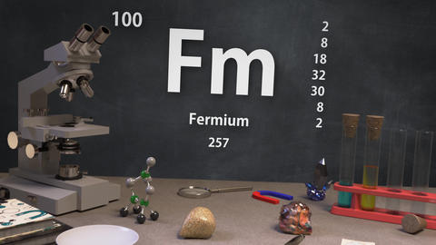 Infographic of 100 Element Fm Fermium of the Periodic Table Animation