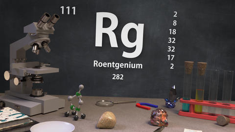 Infographic of 111 Element Rg Roentgenium of the Periodic Table Animation