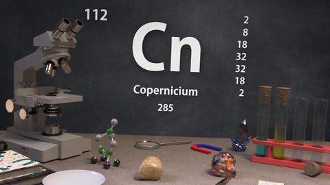Infographic of 112 Element Cn Copernicium of the Periodic Table Animation