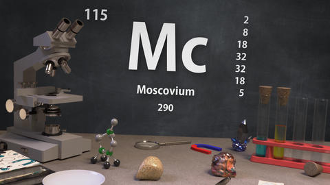 Infographic of 115 Element Mc Moscovium of the Periodic Table Animation