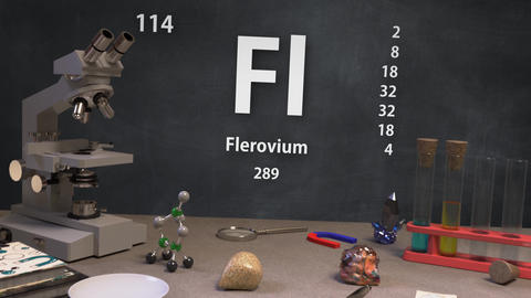 Infographic of 114 Element Fl Flerovium of the Periodic Table Animation