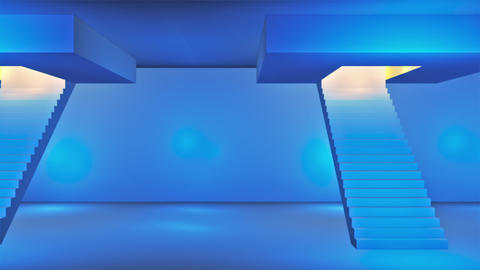 Broadcast Passing Hi-Tech Stairs Alley, Blue, Transport, 3D, HD Animation