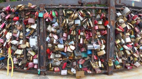 26 Love Locks Or Love Padlocks On Fence In Vienna Live Action