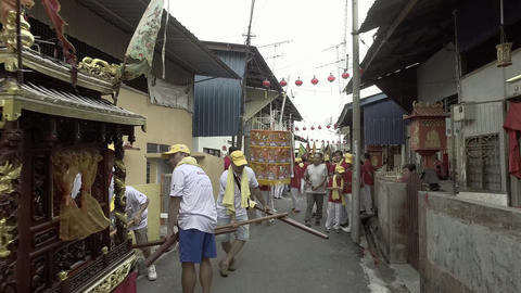 Traditional preparation of the procession for chinese deity Live Action