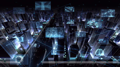 Digital City Network Building Technology Communication Data Business night Side B M-Dc Animation