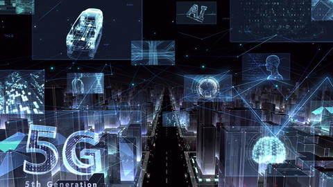 Digital City Network Building Technology Communication Data Business night Zoom A M-Fc Animation