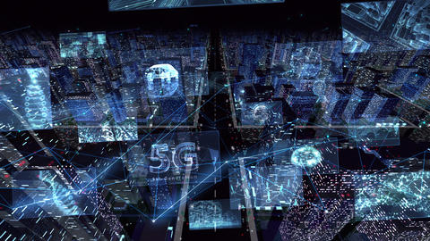 Digital City Network Building Technology Communication Data Business night Zoom B M-Ba Animation