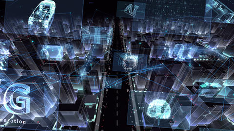 Digital City Network Building Technology Communication Data Business night Zoom B M-Bc Animation
