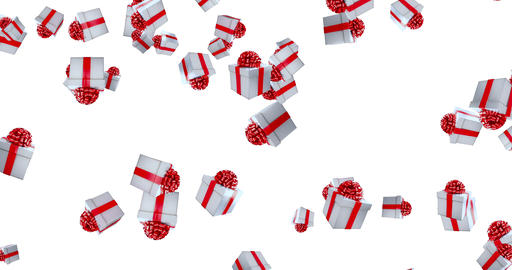 falling christmas gift boxes on white background with gift box alpha channel matte, holiday Live Action