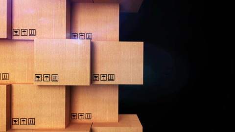 Cardboard boxes with copyspace and matte channel Animation