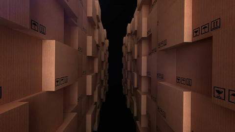 Cardboard boxes at warehouse Animation