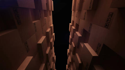Cardboard boxes in a store warehouse Animation
