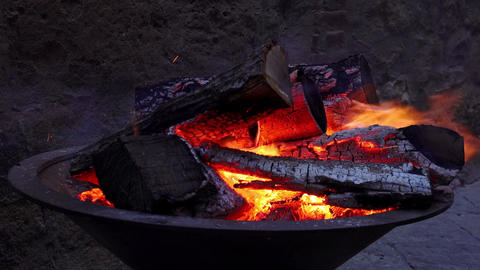 wood in flame: coal, charred, fireplace, warm, winter Footage