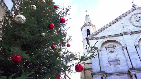 christmas decoration with old church in background Footage