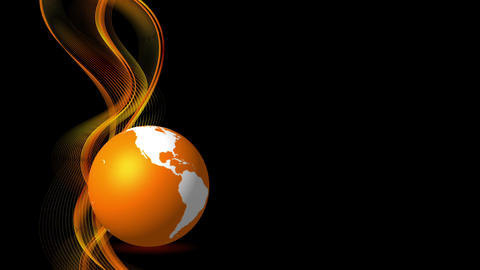 Orange flowing waves and globe animated background Animation