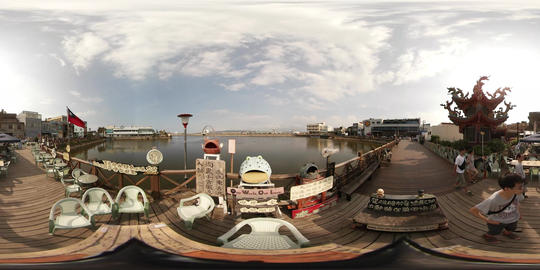 360VR video at Fishing pot recreational boat wharves Footage