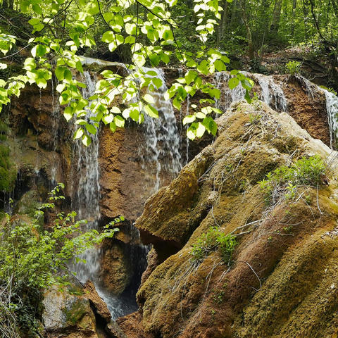 Waterfall Silver stream among the Crimean mountains Footage