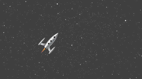 Rocket flying to space cartoon animation as a symbol of stratup business Animation