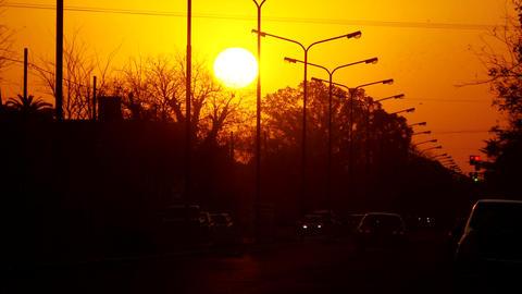 Orange Sunset In The Street Footage