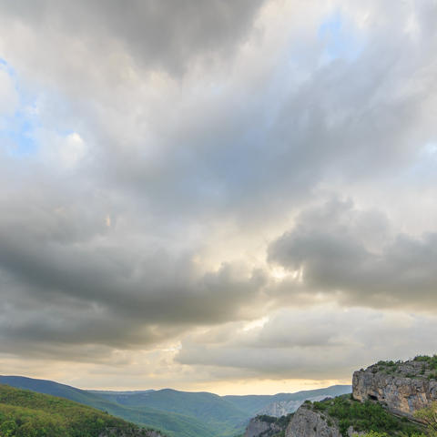 Clouds over the Grand Canyon of Crimea. Time Lapse. Natural HDR Footage