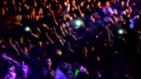 Blurred Crowd In A Concert Footage