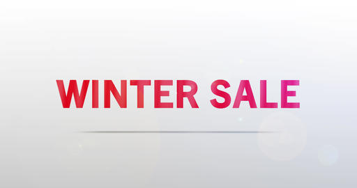 Winter Sale. Particle Logo. Red Text Animation Animation