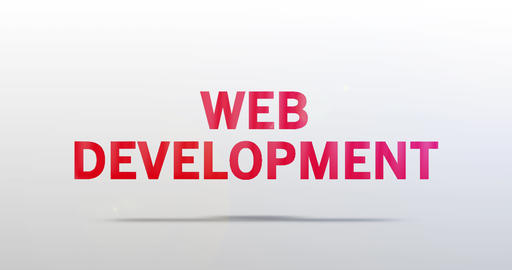 Web Development. Particle Logo. Red Text Animation Animation