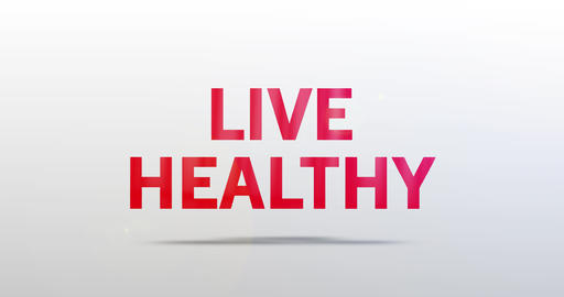 Live healthy. Particle Logo. Red Text Animation Animation