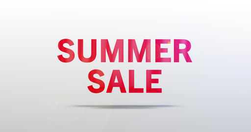 Summer Sale. Particle Logo. Red Text Animation Animation