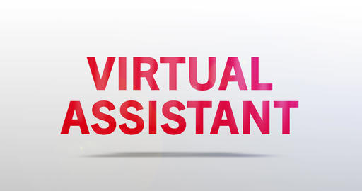 Virtual Assistant. Particle Logo. Red Text Animation Animation