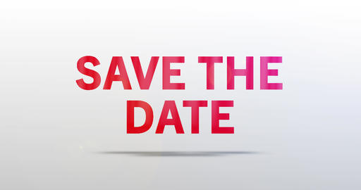 Save the date. Particle Logo. Red Text Animation Animation
