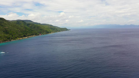 Seascape with islands, aerial view. Sogod Bay, Leyte Island, Philippines Live Action