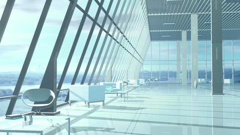 Camera flight along a light modern office room Animation