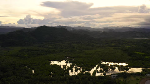 Mountain landscape in the evening. Mountains and hills are covered with forest Live Action